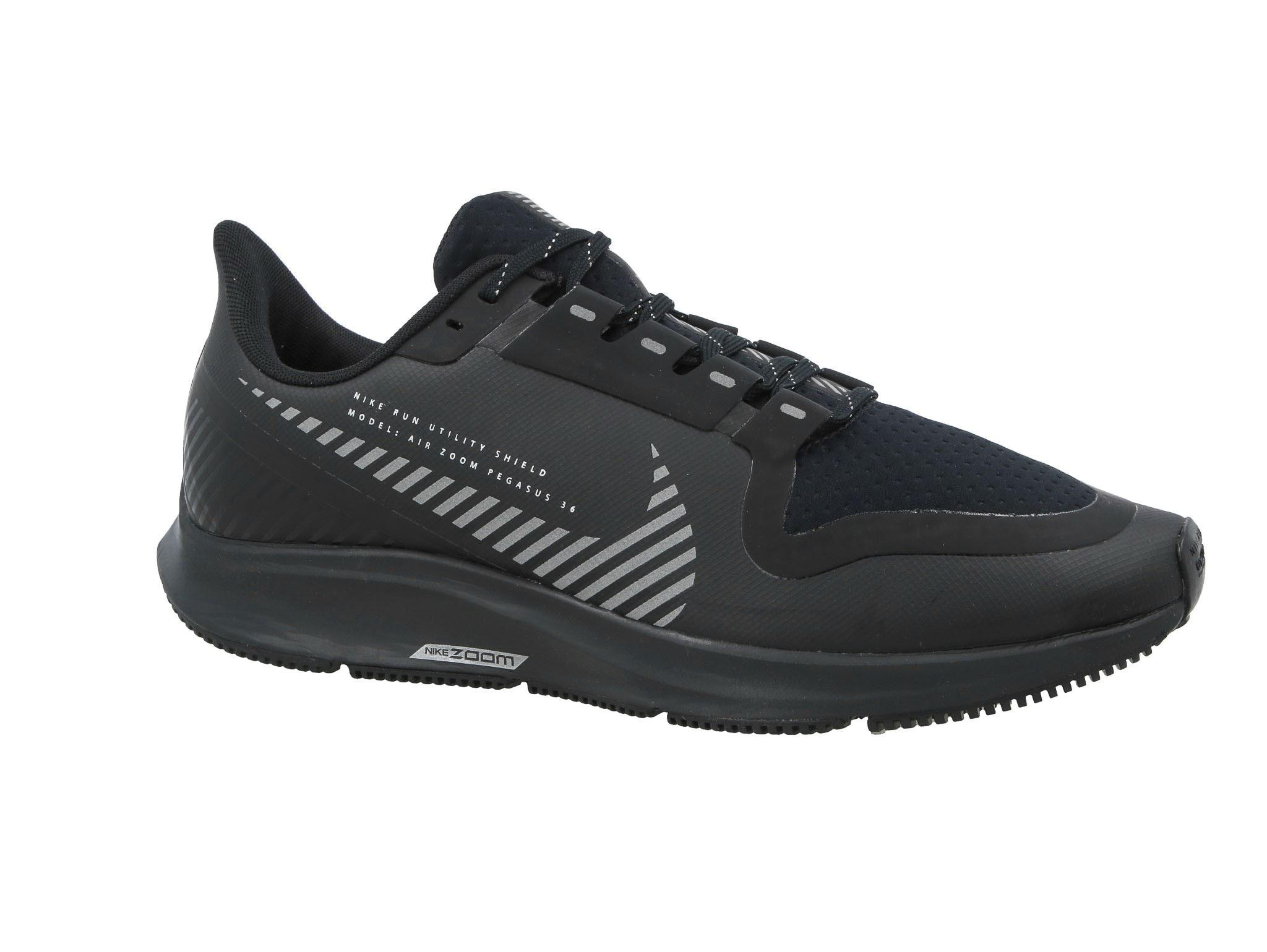 Schuhe NIKE Air Zoom Pegasus 36 Shield AQ8005 001 BlackBlackMetallic Silver